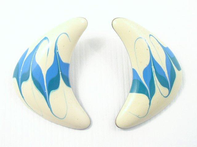 Vintage Space Age Boomerang Enameled Earrings