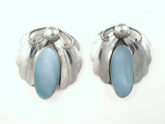 Vintage Egyptian Revival Silver Tone Blue Glass Earrings