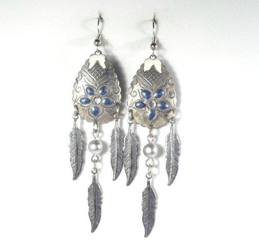Silver Enameled Dangling Southwestern Earrings