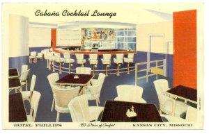 Cabana Cocktail Lounge Hotel Phillips Kansas City MO Postcard
