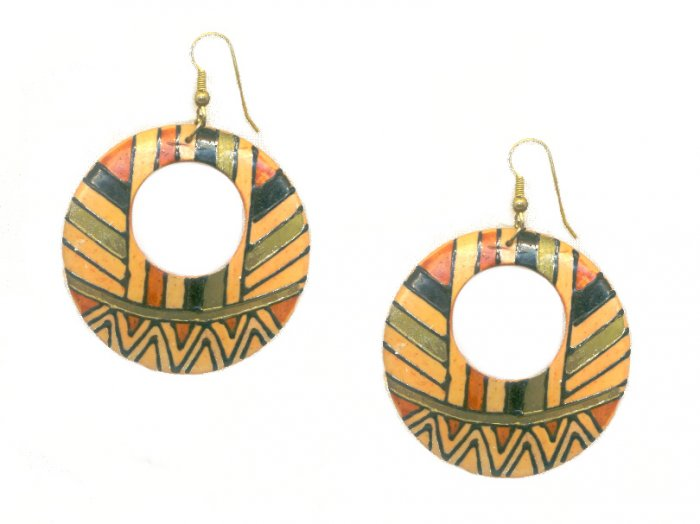 Vintage Hand Painted African Style Ethnic Wood Earrings