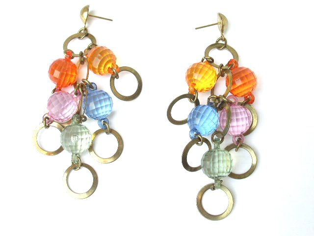Space Age Multi-Color Lucite Dangling Earrings