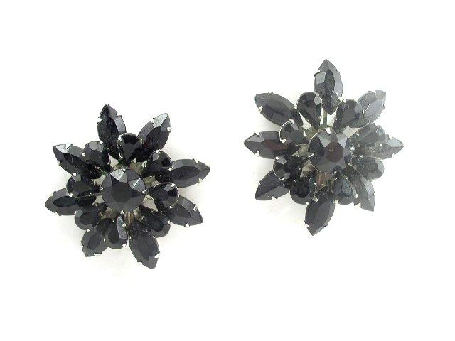 Bold Vintage Black Glass Diamond Rhinestone Earrings Clip