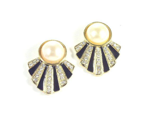 Vintage Black Enameled Rhinestone Earrings Pierced