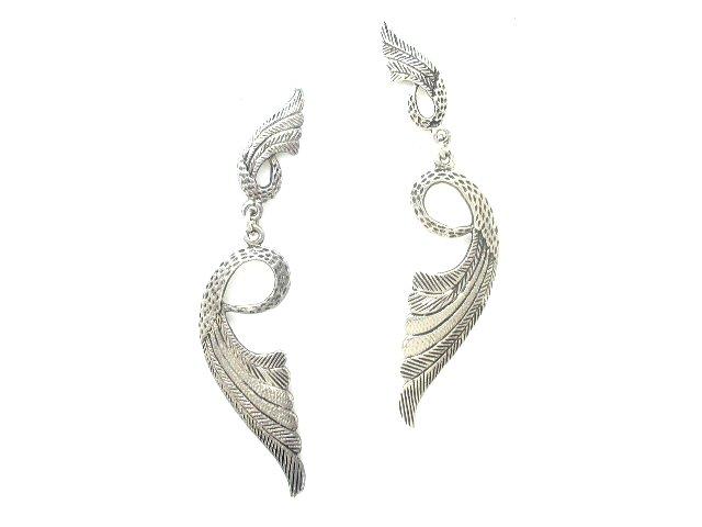 Silver Tone Southwestern Feather Earrings Pierced