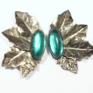 Vintage Green Rhinestone & Gold Tone Earrings Pierced