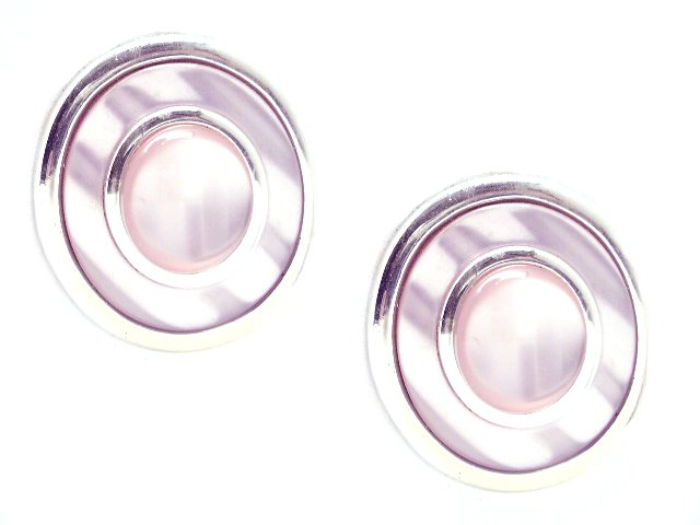 Vintage Large Lavender Silver Tone Earrings Pierced