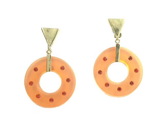 Orange Lucite Plastic Glass Rhinestone Earrings Clip