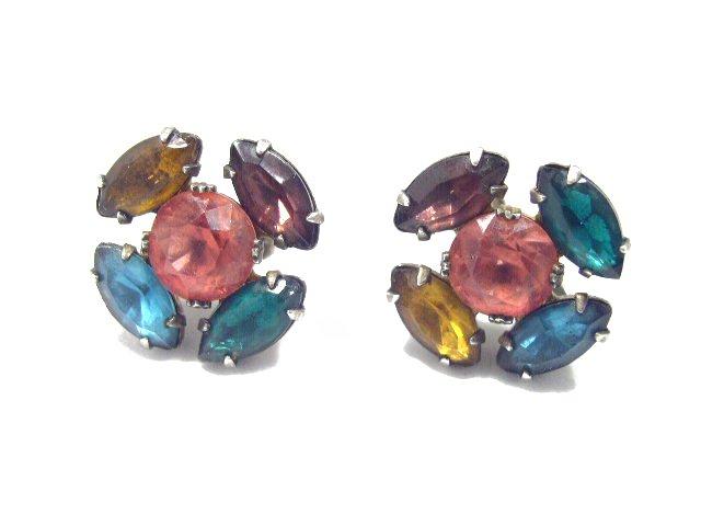 Vintage Sterling Silver Multi Color Rhinestone Earrings Screw
