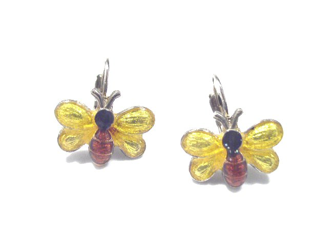Vintage Enameled Silver Tone Butterfly Earrings Pierced