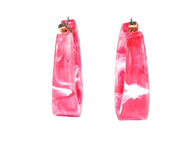 Vintage Raspberry White Swirl Plastic Hoop Earrings Pierced