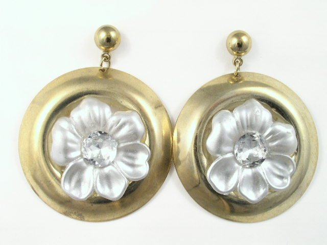 Vintage Large Frosted Lucite & Golden Dangling Earrings Pierced