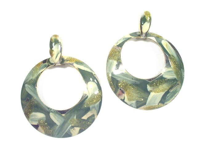 Big Dangling Green Enameled Gold Tone Earrings Pierced