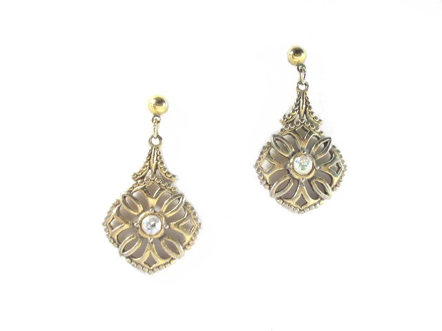 Vintage Gold Tone & AB Rhinestone Dangling Earrings Pierced