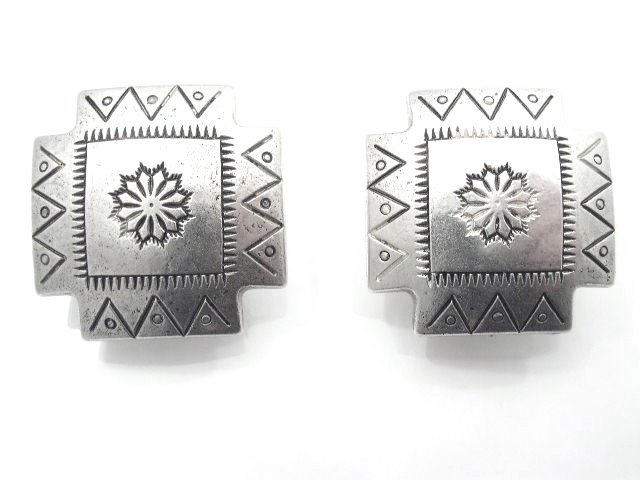 Vintage Southwestern Tooled Silver Look Earrings Pierced