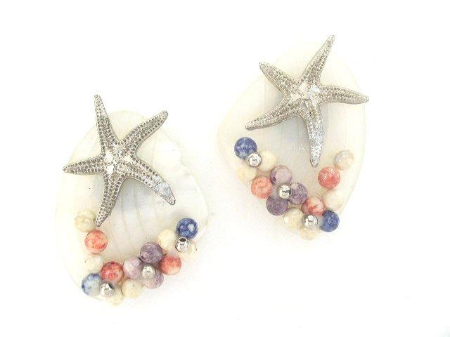 Vtg Mother Of Pearl Glass Sea Shell Earrings Pierced