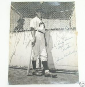 Johnnie McCarthy Signed Baseball Publicity Photo