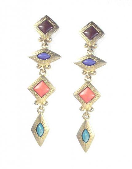 Vintage Mid Century Gold Tone Long Dangling Earrings