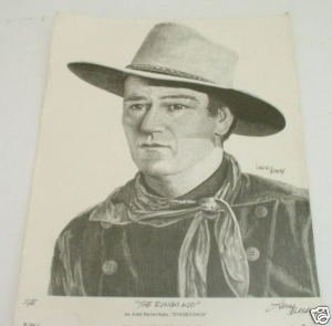 John Wayne Ringo Kid Portrait Print by Larry Bees