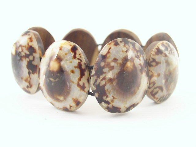 Vintage Cowrie Shell & Wood Stretch Bracelet