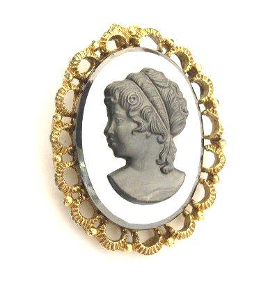 Vintage Glass Hematite Cameo Brooch & Pendant