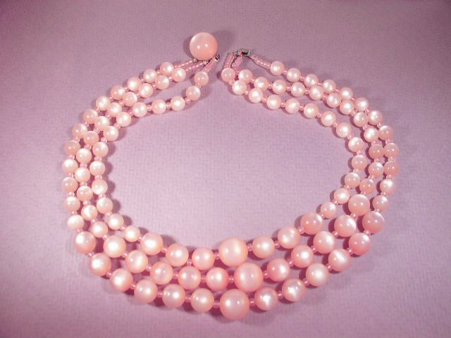 3 Strand True Pink Moonglow Thermoset Plastic Necklace
