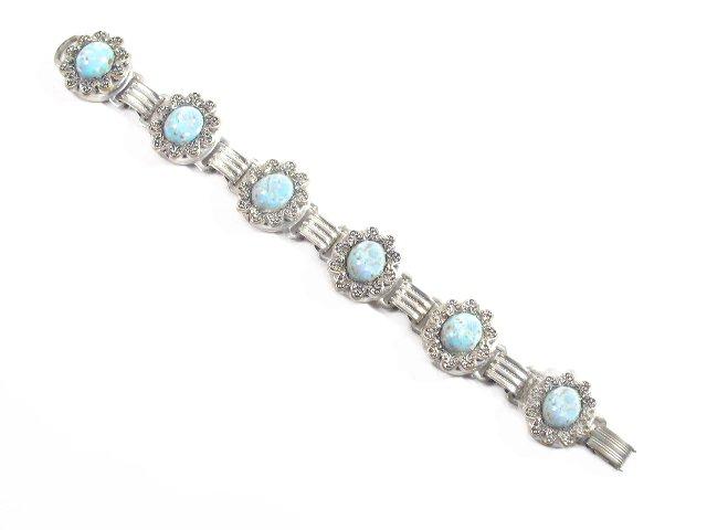 Vtg Robins Egg Blue Art Glass Silver Tone Bracelet