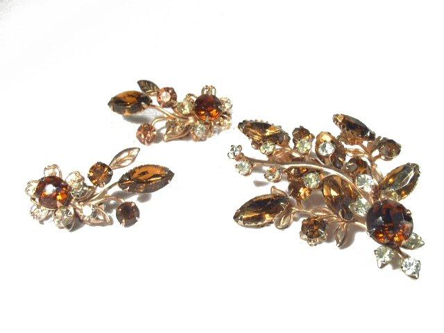 Vtg High Quality Rhinestone Brooch & Earrings Demi
