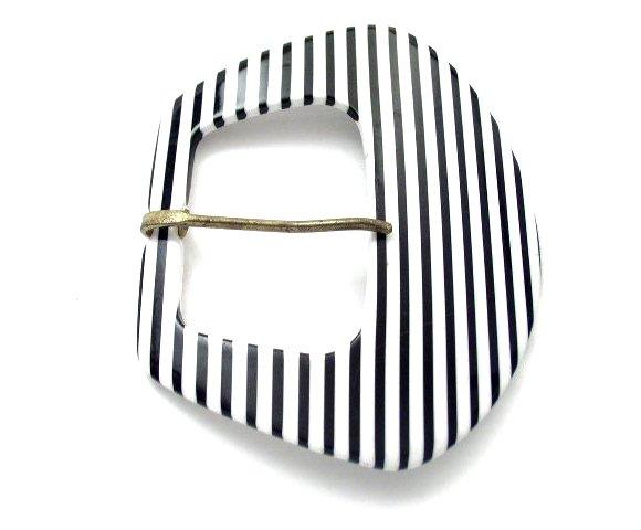 Vtg Large Laminated Plastic Black White Striped Buckle