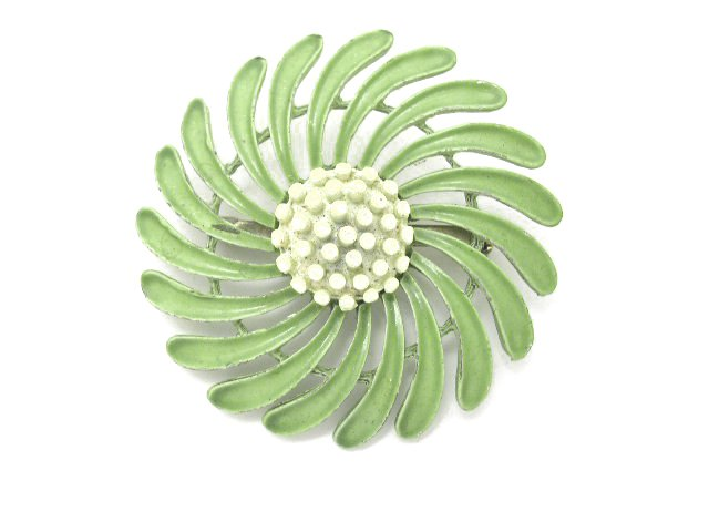 Vintage Mod Green Enameled Flower Brooch 1960s