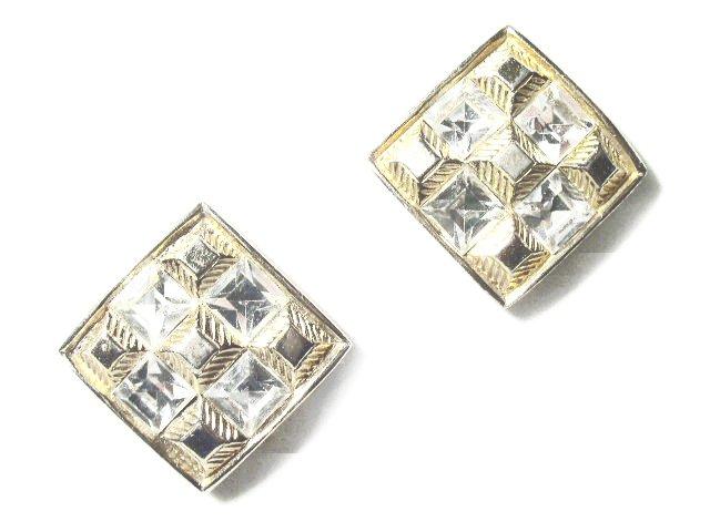 Vintage Gold Tone Rhinestone Earrings - Castlecliff