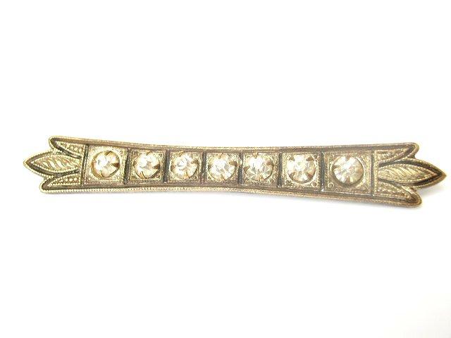 Edwardian Deco Influence Clear Paste Enameled Bar Pin