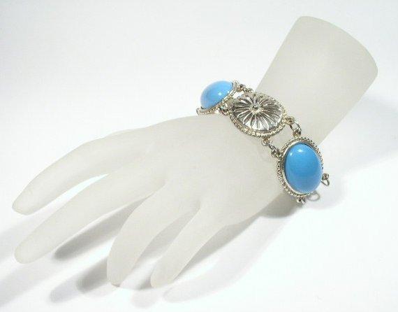 Vtg Silver Tone & Faux Turquoise Southwestern Bracelet