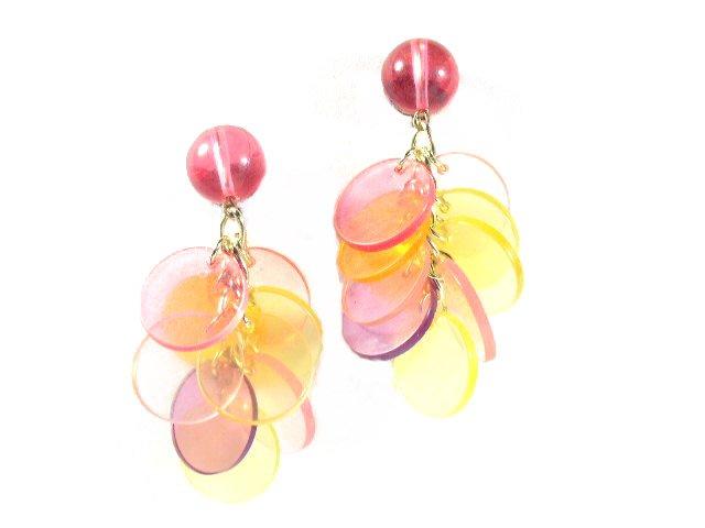 Mid Century Modern Dangling Acrylic Plastic Earrings