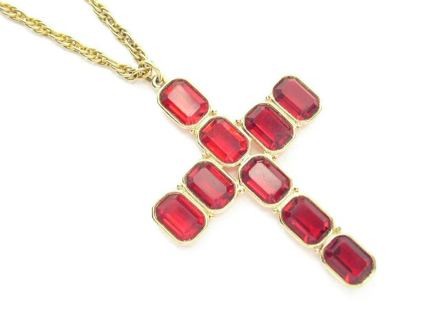 Vtg Large Bright Ruby Red Rhinestone Cross Necklace
