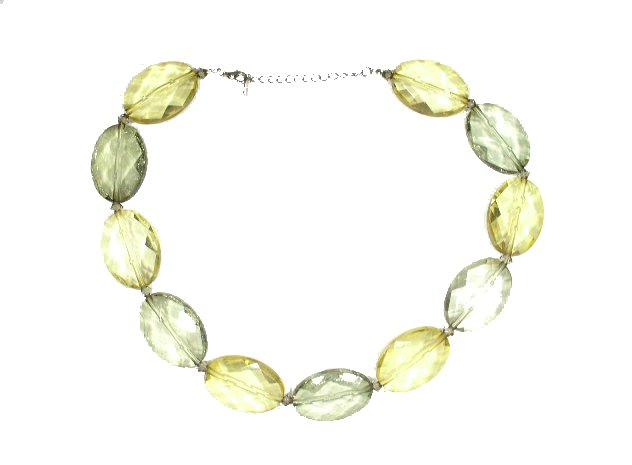 Vtg Plus Size Green Yellow Lucite Losenge Bead Necklace