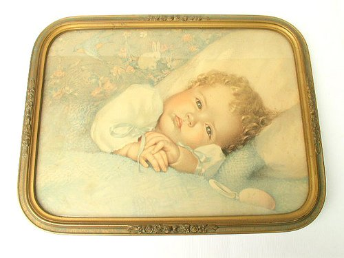 Antique Sleepy Dreamy Baby Print in Ornate Gold Frame