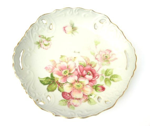 Japanese Porcelain Pink Wild Rose Plate Moriage Plate