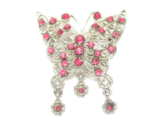Vtg Silver Tone Hot Pink Rhinestone Butterfly Brooch