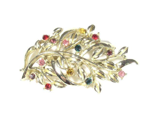 Vintage Colorful Rhinestone Branch & Berries Brooch