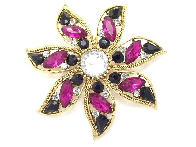 Vtg Large Gold Tone Purple & Black Rhinestone Brooch