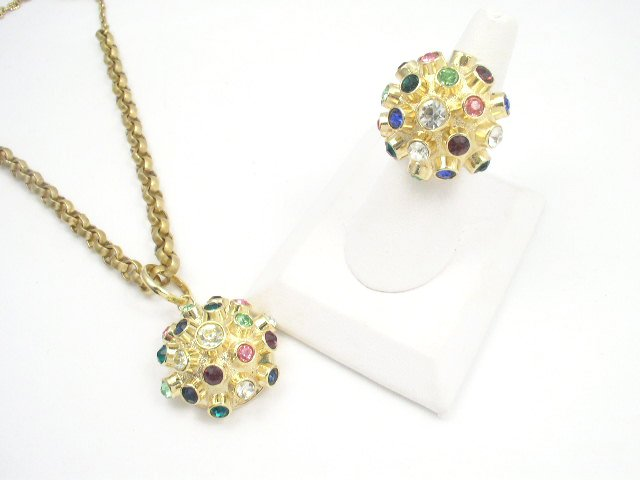 Vtg Sputnik Cocktail Fashion Ring Necklace Set