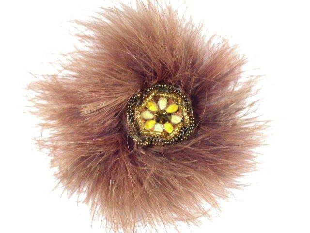 Rare Feather Art Enamel Seed Bead & Rhinestone Brooch