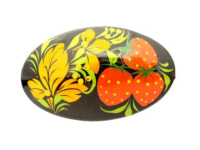 Vintage Folk Art Hand Painted Wood Brooch Strawberries