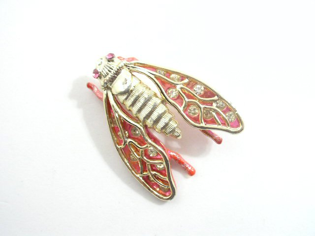 Vintage Enameled Rhinestone Cicada Figural Brooch
