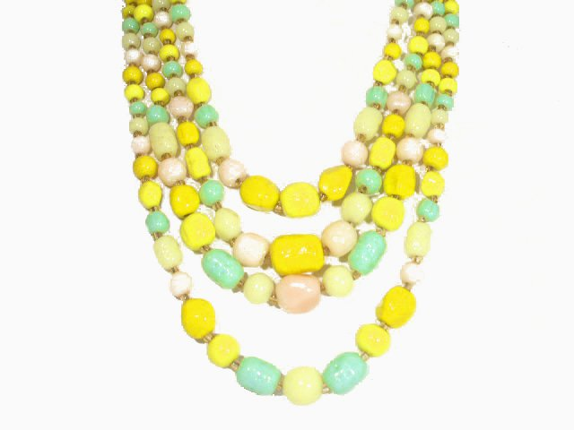 Four Strand Citrus Colors Art Glass Bead Necklace Japan