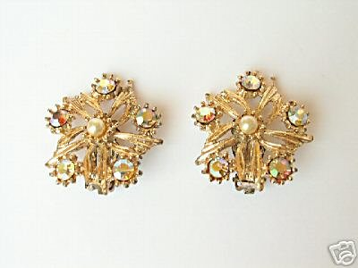 Vintage Gold & Aurora Borealis Rhinestone Earrings