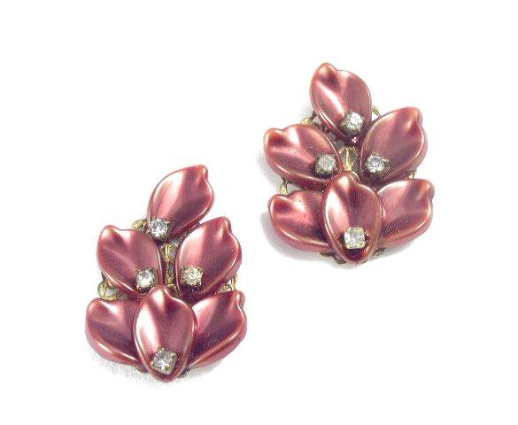 Luminescent Russet Plastic Petal & Rhinestone Earrings