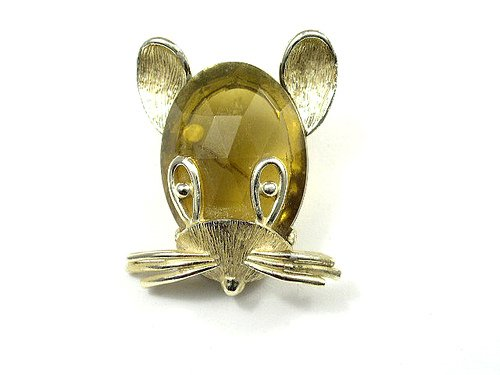 Vintage Cute Figural Lucite Mouse Head Brooch