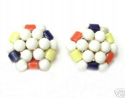 Vintage Multi-Colored Glass Beaded Earrings